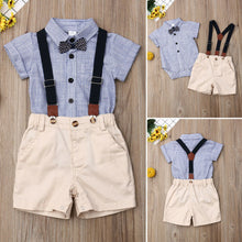 Load image into Gallery viewer, Baby Boy Gentleman Clothes Striped Shirt Romper