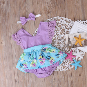 Adorable Summer Princess Floral Romper Dress