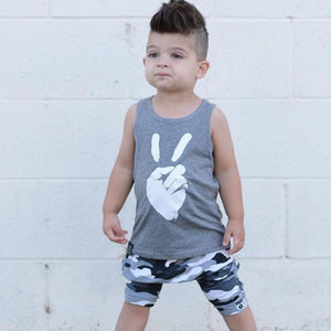 New Summer Cotton Vest Camo Shorts Clothes Set