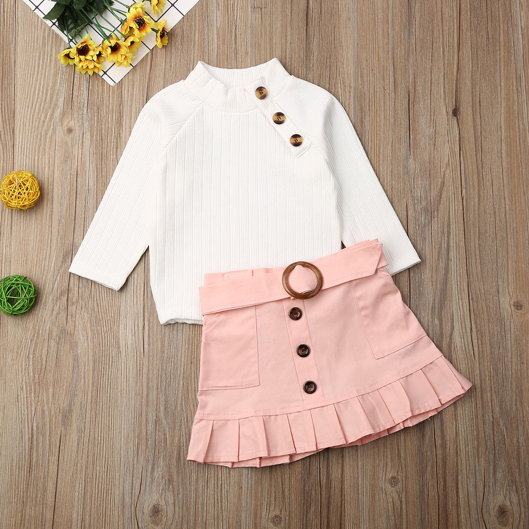 White Knit Tops Sweaters with Button Mini Skirt Warm Outfits Set