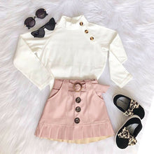 Load image into Gallery viewer, White Knit Tops Sweaters with Button Mini Skirt Warm Outfits Set