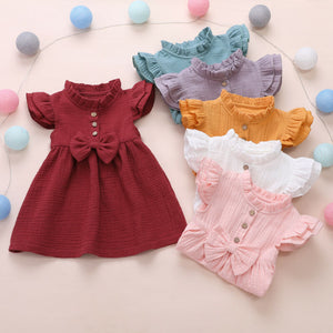 Bow Button Princess Ruffle Tutu Dress