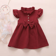 Load image into Gallery viewer, Bow Button Princess Ruffle Tutu Dress