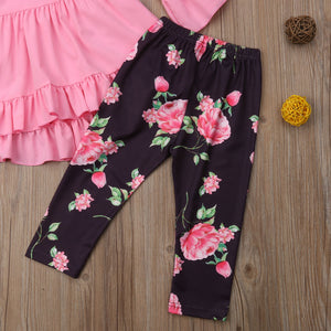 Long Sleeve High Waist Dress Floral Leggings Pants Outfits Set