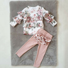 Load image into Gallery viewer, Floral Tops Ruffle Pants Casual Kids Girls Outfits