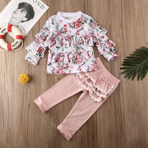 Floral Tops Ruffle Pants Casual Kids Girls Outfits