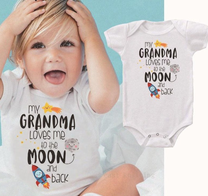 Grandma Loves Me To The Moon And Back Rompers