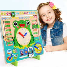 Load image into Gallery viewer, Frog Wooden Learning Calendar Clock