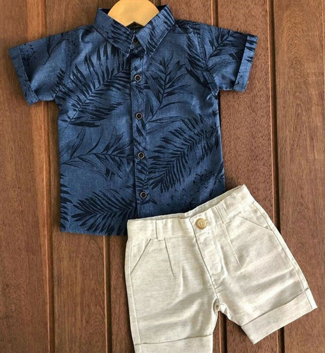 Printed Navy Blue 2-Piece Summer Outfit Set