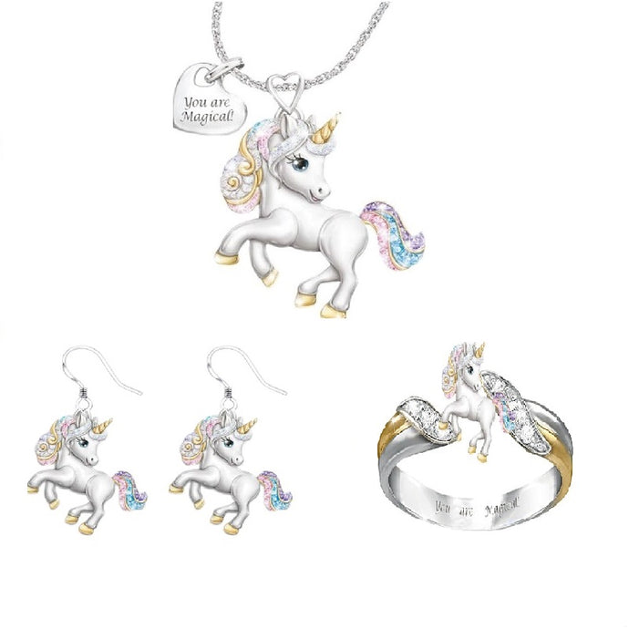 Rainbow Unicorn Necklace and Ring and Earrings