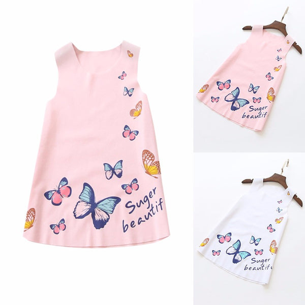 Silk Cotton Girls Sleeveless Butterfly Dress