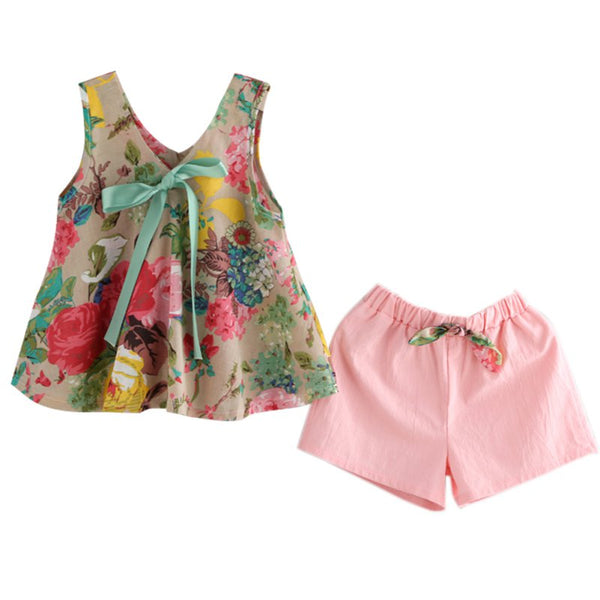 Summer Floral Printed Sleeveless Baby Vest Tops +Shorts