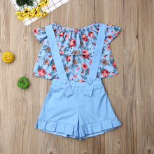 Load image into Gallery viewer, Cute  Sky BLueFlower Blouse Summer Outfit Set