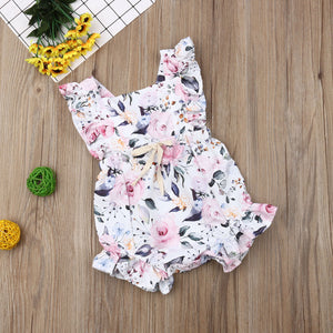 Summer Cute Girl Flower Ruffle Romper