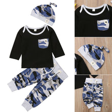 Load image into Gallery viewer, Newborn Long Sleeve Tshirt Camouflage Pants Set