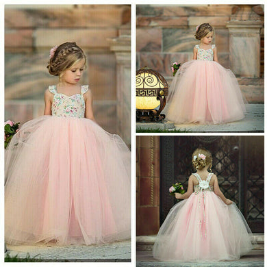 Flower Girl Kids Lace Dress Princess Party