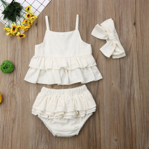 Casual White Headband Tops Pants Skirt Outfit Set