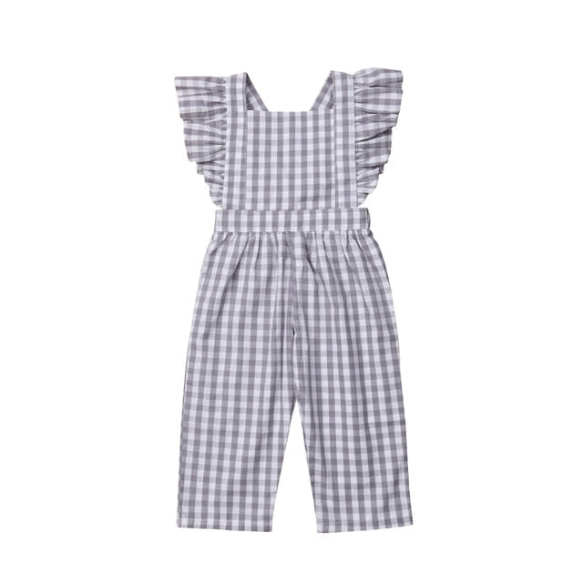 Casual Fashion Plaid Baby Girl Jumpsuit
