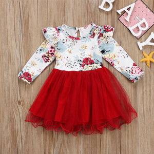Flower Print Long Sleeve Tutu Tulle Dress One-Piece Outfit
