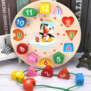 Educational Wooden Beaded Geometry Digital Clock Puzzles