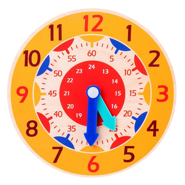 Hour Minute Second Cognition Colorful Wooden Clocks