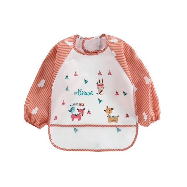 New Baby Kids Toddler Long Sleeve Apron Pocket