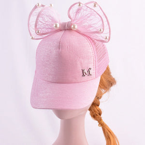 Cute Baby Girl Baseball Cap Glitter Sequin Rabbit Ear