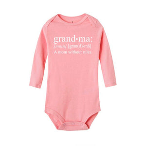 Grandma A Mom Without Rules Casual Baby Long Sleeve Baby Rompers