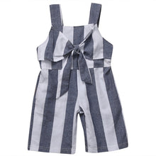 Load image into Gallery viewer, Kids Girls Striped Bow Jumpsuit Outfits