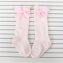 Load image into Gallery viewer, Cotton Girls Big Bow Knee High Long Socks