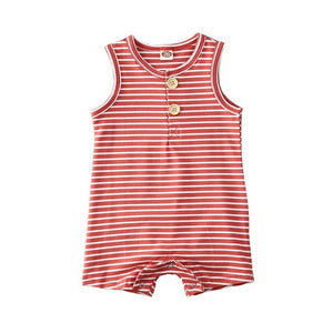 Infant Baby Striped Clothes Sleeveless Rompers
