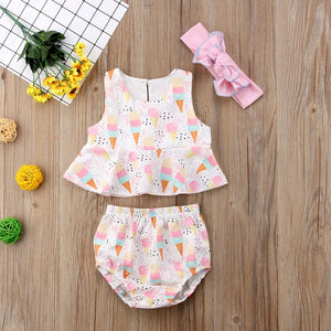Baby Girls Ice Cream Summer Outfit Set
