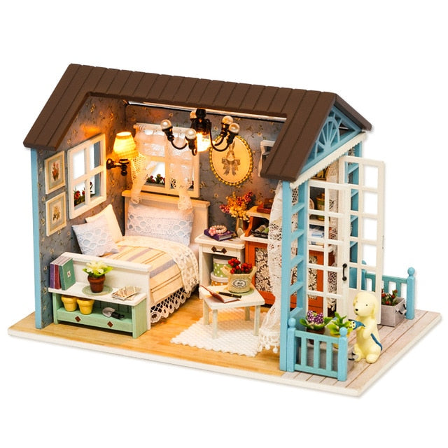Dollhouse With Furniture Wooden House For Children