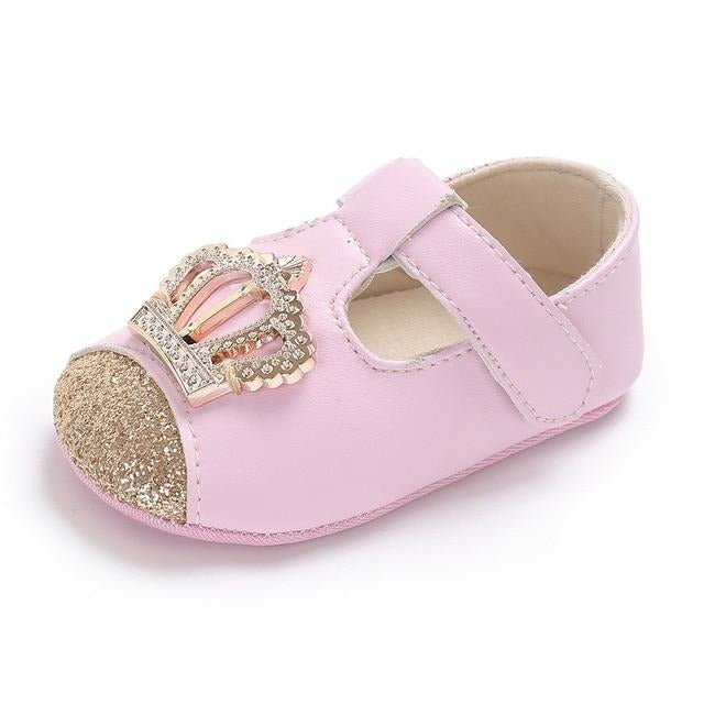 Pink Crown Princess Baby Leather Shoes