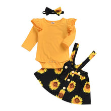 Load image into Gallery viewer, Sunflower Print Romper Tutu Dress Set