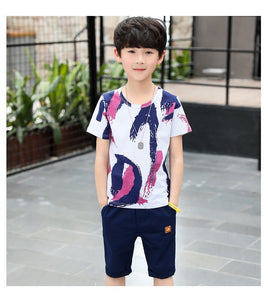 Children Colorful Short Sleeve Shirt and Shorts Set