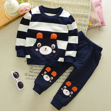 Load image into Gallery viewer, Striped Bear Baby Ensemble
