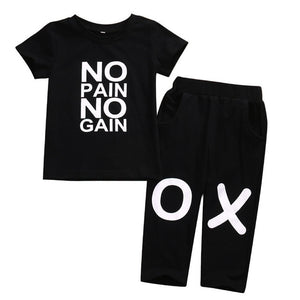 No pain no gain T shirt Top+Pants 2pcs Set