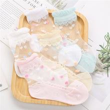 Load image into Gallery viewer, 5 Pairs Breathable Girls Ankle Socks