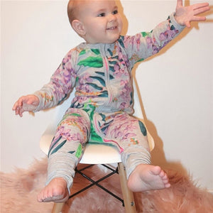 Long Sleeved Dino Rompers With Practical Easy Zipper