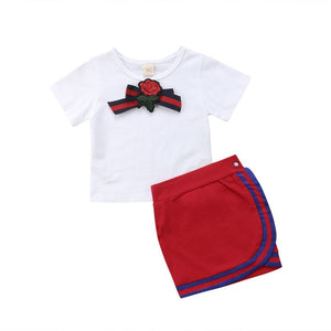 Adorable Toddler Kids Girls Short Sleeve Tops Skirts Outfits