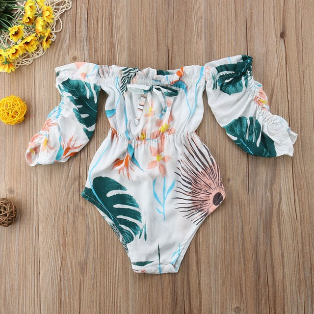 Summer Girls Leaves Printed Toddler Romper