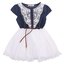 Load image into Gallery viewer, Lace Belt Denim Tulle Stitching Dresses