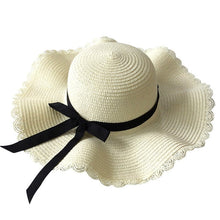 Load image into Gallery viewer, Summer Wavy Straw with Black Ribbon Beach Hat