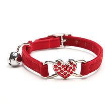 Load image into Gallery viewer, Adjustable Heart Charm and Bell Cat Collar