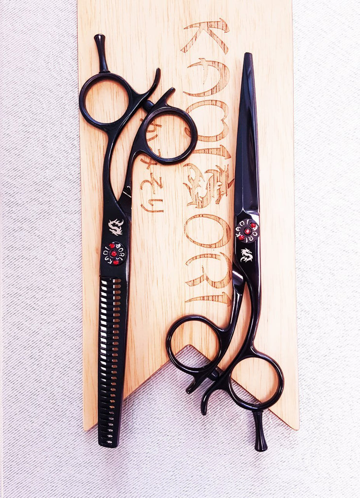 KAMISORI Black Diamond Professional Haircutting Shears Set