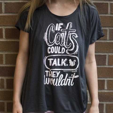 If Cats Could Talk Ladies' Dolman T-Shirt - Meowtropolitan Trading