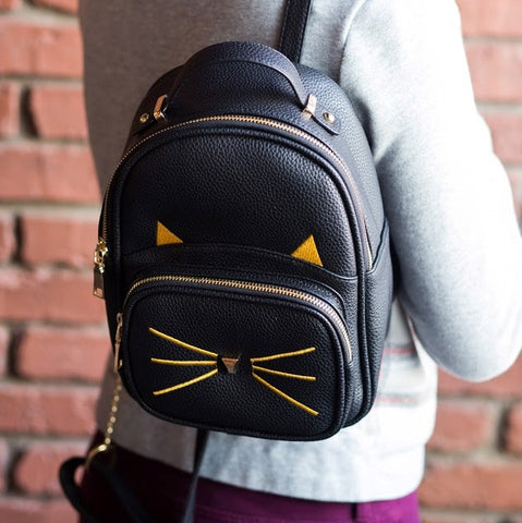 Kitty Face Vegan Leather Backpack - Meowtropolitan Trading