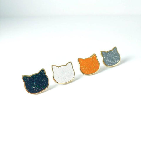 Glitter Cat Board Fillers - Miniature Hard Enamel Pins -made by Squeak - Meowtropolitan Trading