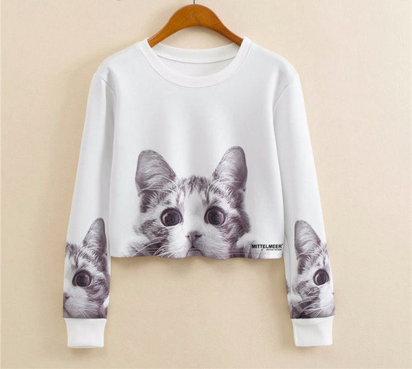 Kitten Peek Cropped Sweatshirt